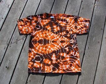 Tie Dye Kids Shirt (Large) Orange & Black Mandala Tee
