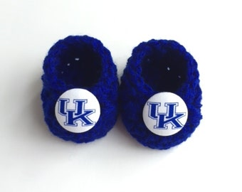 University of Kentucky Wildcats baby booties, baby booties, infant shoes, crochet baby booties, booties for baby, crochet baby shoes