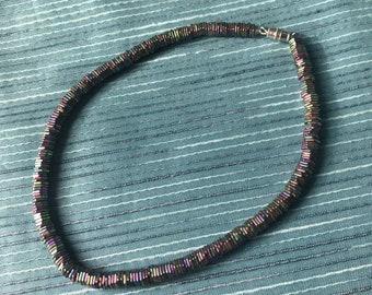 Rainbow stone bead choker necklace.