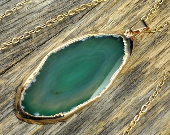 Memorial Day Sale - Agate Necklace, Green Agate Necklace, Green Agate Pendant, Agate Jewelry, Gold Necklace, Slice Agate, 14k Gold Fill