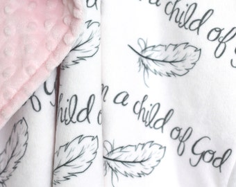 I am a Child of God Baby Blanket-Baby-Baby Girl-Baby Boy-Minky Blanket-Child of God