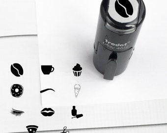 Round Loyalty Card Mini Self Inking Stamp- Brows, Coffee, Cupcake, Donut, Ice Cream, Lashes, Lips, Nail Polish, Pizza, Hair Scissors