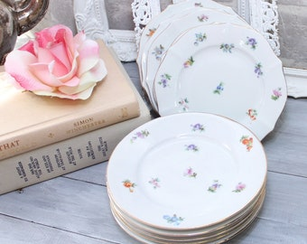 10 dessert/ cake  china plates 5.75 -  6 inches white with multi color flowers, wedding cake plates