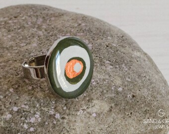 Evil eye ring, nazar olive green ring, statement ring, everyday adjustable ring, resin ring, OOAK ring, gift for her, christmas jewel gift