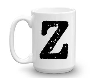 Initial Mug - Letter Z - 15oz Ceramic Cup - Groomsman Gift Mug - Right-Handed or Left-Handed Mug