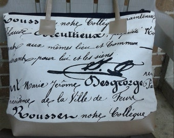 Black White Tote Bag, 18w x 14h x 3d, Signature Tote, Canvas Tote Bag, Zipper Tote Bag, Graphic Tote Bag, Travel Tote Bag, Purse, Pocketbook