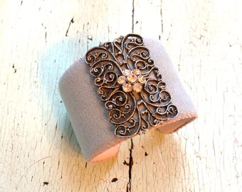 Pale French Blue/Gray Adjustable Cuff