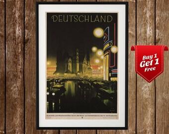 Vintage Germany Poster, Vintage Germany Travel Print, Deutschland Poster, Germany Travel Art, Vintage Travel Print, Prewar Deutschland
