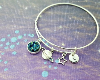 Space Bangle, Planet Charm Bracelet, Space Jewellery, Personalised Bangle, Silver Bangle, Geeky Gift, Galaxy Jewelry, Faux Druzy Bangle