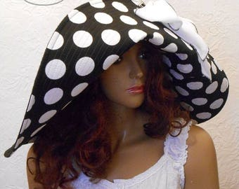 Wide-brimmed hat, A hat with polka dots, Black hat, Black and white hat, Women's Hat, Linen hat, Travel sunhat.