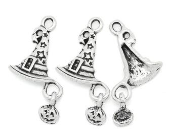 26 mm  Antique Silver Witches Hat with Pumpkin Dangle (1346)