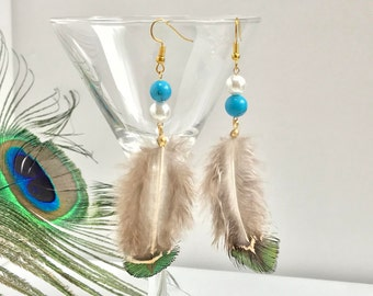 Feather Earrings Turquoise Peacock