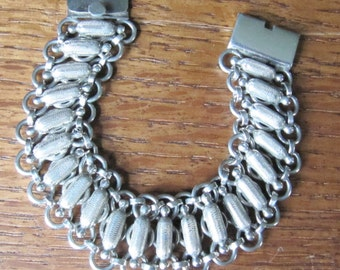 Vintage Mexican Sterling Silver heavy chain bracelet jewelry Plateria FarFan linked corn cobs fertility 925 Mexico Hecho en Mexico