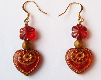 AMOUR BOHEME - Vintage Inspired Romantic Dangle Earrings - Valentine's Day Jewelry Gift