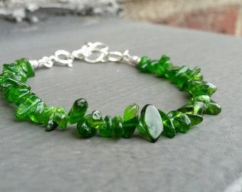 Green Chrome Diopside Chip Stacking Bracelet, Sundance Style FREE USA SHIPPING