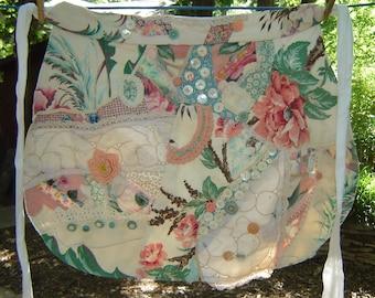Bark Cloth Apron - Vintage Crochet Apron - Vintage Collage Apron in Spring Colors - Pieced Half Apron