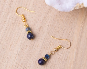 Lapis Lazuli Earrings - Gemstone and blue twinkle bead gold earrings | Lapis Lazuli dangle earrings | Elegant jewelry | Small drop earrings
