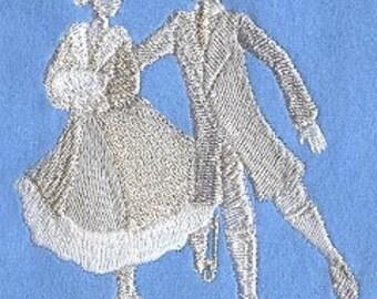 Christmas  Towel  - Skaters Towel - Embroidered Towel - Flour Sack Towel - Hand Towel - Bath Towel - Fingertip - Apron