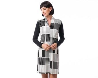 Printed dress, jersey dress , winter dress,black&white dress,  Long Sleeve Dress, Fashion Dress, Womens Winter Dresses