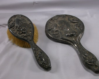Antique Victorian Brush And Mirror Set Silver-plate .epsteam