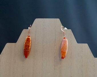 Fire Agate and Carnelian Earrings