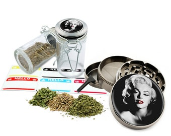 "Marilyn Monroe - 2.5"" Zinc Alloy Grinder & 75ml Locking Top Glass Jar Combo Gift Set Item # 50G012516-3"