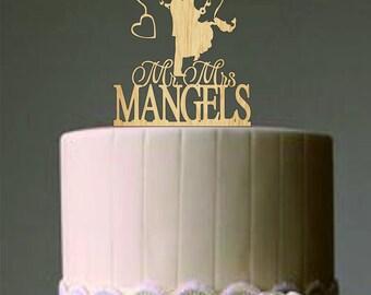 Wedding Couple Fishing Pole Heart - Unique Wedding Cake Topper - Custom Personalized Wedding Cake Topper - Wedding Decor Heart