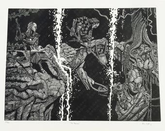 """Linocut Print, """"The Recorders"""", Fantasy Illustration, 18x24, Variations Available"""