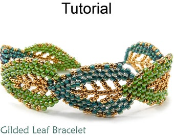 Jewelry Making Tutorials and Patterns - Beaded Leaf Bracelet - Russian Leaves - Diagonal Peyote Stitch - Gilded Leaf Bracelet #9576