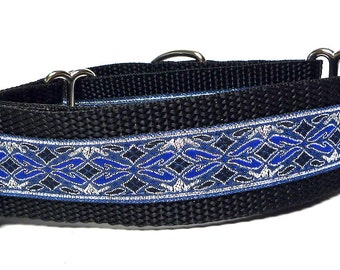 Martingale collar,Dog collar, OLD ENGLISH, in blue, silver metallic, Safety Collar, Greyhound Collar, Sighthound Collar, training collar