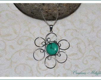 A turquoise natural stone, Flower necklace