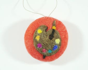 Christmas Ornament - Needle Felted - Artist Palette on Red Orange - Needlefelt Ornament - Felt Christmas - Christmas Gift - Decoration