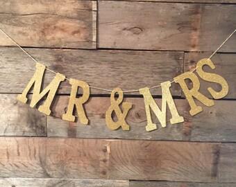 Mr And Mrs Banner, Gold Glitter Banner, Wedding Sign, Mr & Mrs.