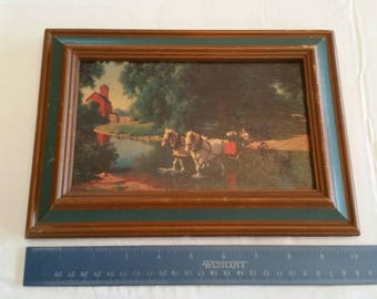 "antique 1950 s litho art framed color print by paul detlefsen 5""x8"" good ole days - windsor art products chicago il - horse team buggy creek"