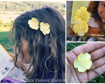 Realistic buttercup hair flower, yellow hair flower clip, buttercup barrette