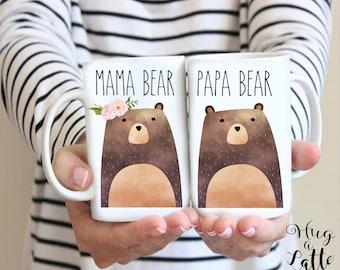 Mama Bear Papa Bear Mug Set, New Mom Gift, Bear Mugs, Mama Bear Gift, Papa Bear, New Mom Mug, Mom To Be, Gender Reveal, Baby Shower Gift