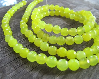 6mm JADE Beads in Bright Neon Yellow, Faceted, Round, Full Strand, Approx 60 Pcs, Gemstones, Yellow Stone Beads