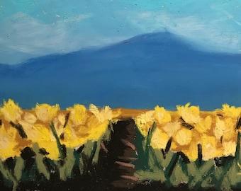 Fields of Gold - Original Pastel Painting by Jamies Art 5x7