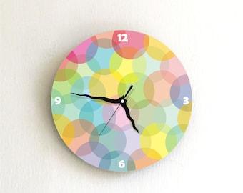 "Wall clock, Colorful Pastel bubbles wall clock, 8"" wall clock"