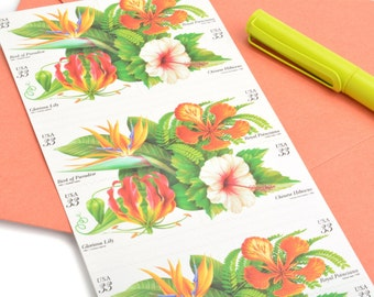 Pack of 20 Unused Tropical Flowers Stamps - 33c - Unused Vintage Postage - Quantity of 20