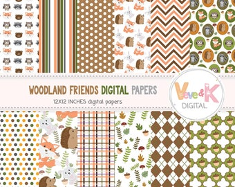 Woodland Animals Digital Papers, Forest Animals Papers, Fox, Deer, Bear, Racoon, Woodland Baby Shower, Digital Paper Pack, Commercial Use