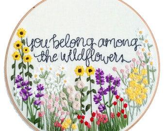 Hand Embroidery Kit // Wildflowers Hand Embroidery Pattern: Beginner Pattern, Flower Embroidery Hoop Pattern, Hoop Art, DIY Gift