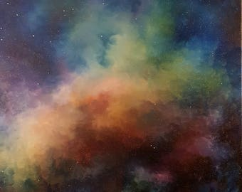 Cosmic Clouds: Original Oil Finger-Painting
