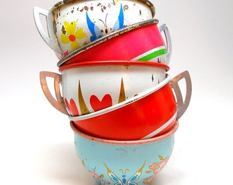 50s Tin Toy Tea cups, Heart & butterfly graphics on 5 metal cups. Instant collection.