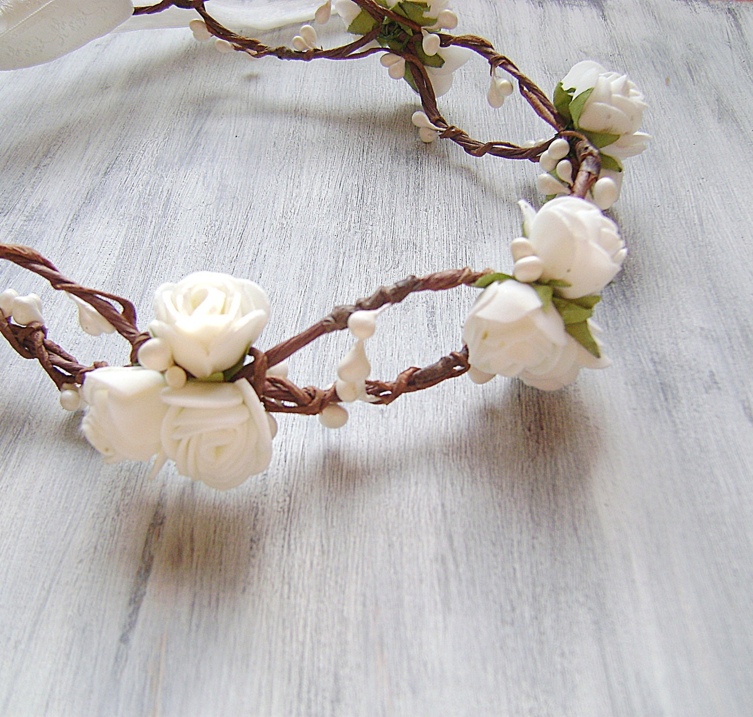 White Rose Flower Crown Woodland Bridesmaid Headband Festival