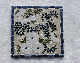 Mosaic, 20cm x20cm trivet. White and blue bouquet in relief.