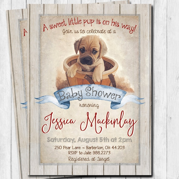 Puppy baby shower invitation rustic puppy baby shower filmwisefo