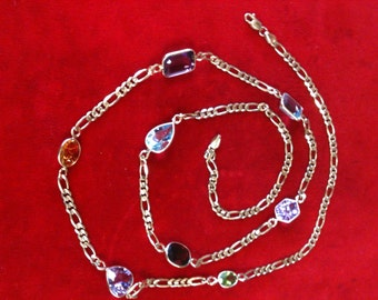 """14 k Yellow Gold Necklace with Large MultI Color Stones.  24.1 Gm, 30"""" Long."""