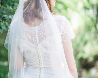 Draped veil, bohemian wedding veil, boho veil, heirloom wedding, drape bridal veil, English net soft veil, +sizes,  ivory white Style 816