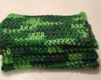 4 Large dish cloths/ dish rags/ wash cloths made with 100% cotton yarn | Caterpillar